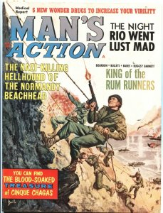MAN'S ACTION 2/1965-NORMANDY COVER BY DUILLO-CHEESECAKE-EXPLOITATION-PULP