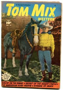 Tom Mix Western #19 1949- 1st photo cover- Golden Age Fawcett VG-