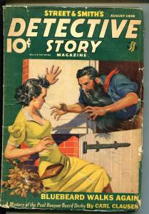 DETECTIVE STORY 8/1938-MYSTERY & CRIME PULP-MADMAN-BABE-VIOLENCE-good