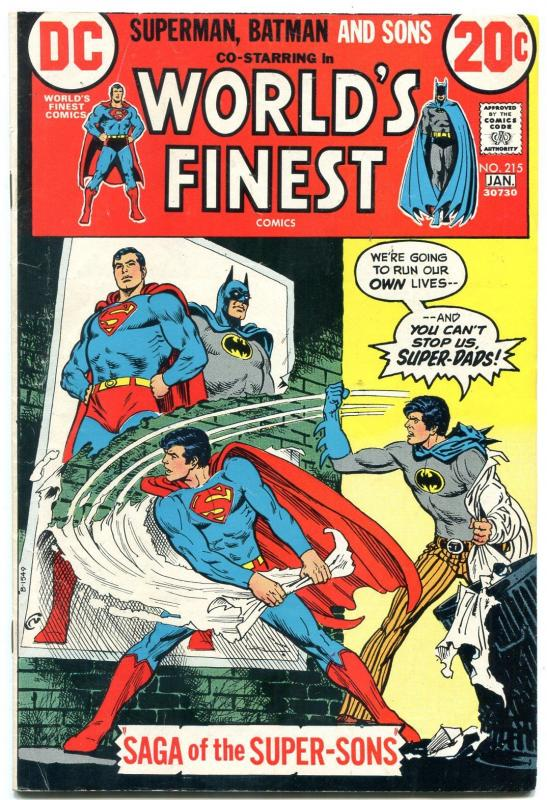 World's Finest #215 1973- 1st Super-sons! Batman Superman VG/F