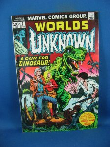 WORLDS UNKNOWN 2 F DINOSAUR COVER 1973