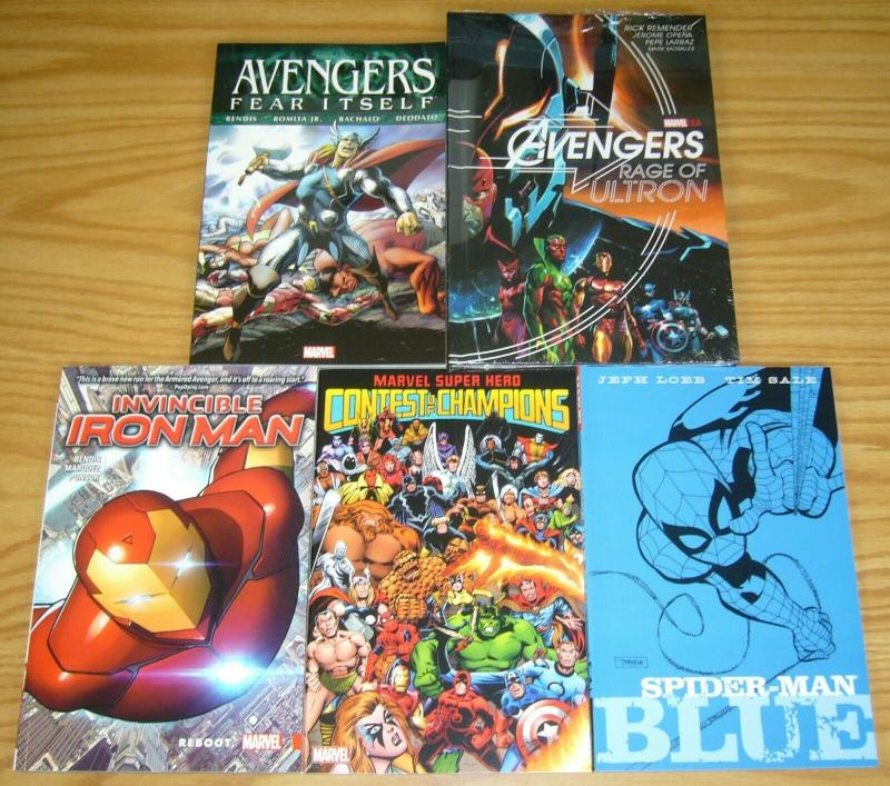 Lot of (5) Marvel TPBs - avengers HC - spider-man blue iron man (value: $90.95)