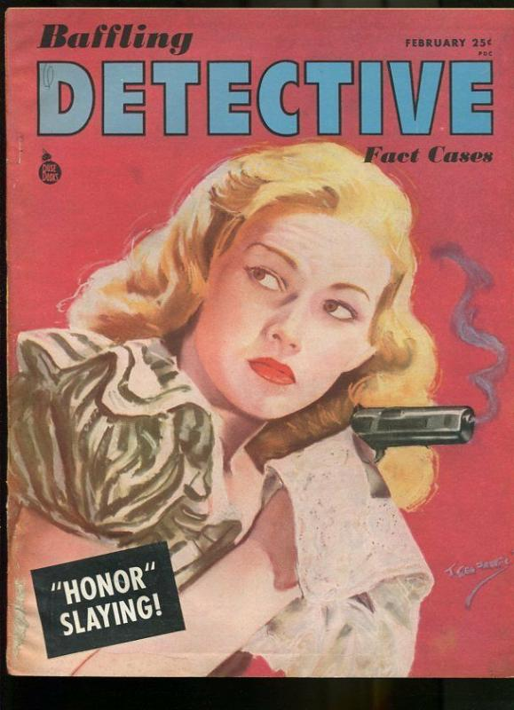 BAFFLING DETECTIVE FACT CASES FEB 1946-WILD TRUE CRIME-PULP-MAGAZINE VG/FN