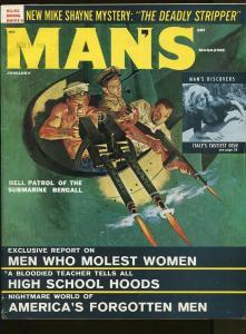 MAN'S MAGAZINE JANUARY 1962-MIKE SHAYNE-ITALY'S TASTIEST DISH-FN+
