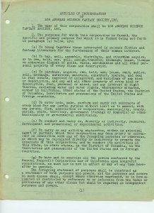 ARTICLES OF INCORPORATION OF Los Angeles Science Fantasy Society, Inc.