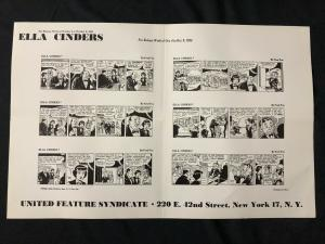 Ella Cinders Newspaper Comic Dailies Proof Sheet 10/4/54