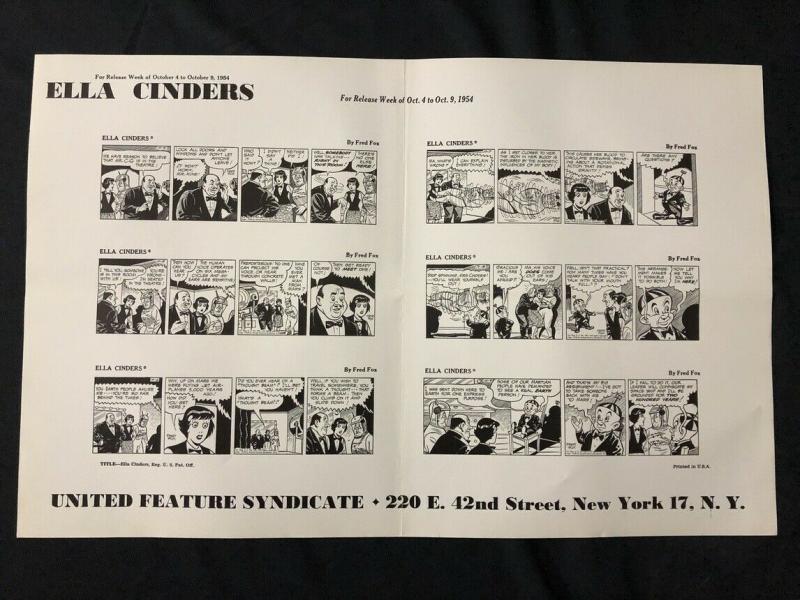Ella Cinders Newspaper Comic Dailies Proof Sheet 10/4/54