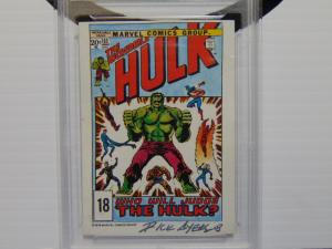 1978 Drakes Cakes Marvel Incredible Hulk Card Autographed by Dick Ayers  Grade 4