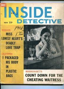 INSIDE DETECTIVE-NOV. 1961-BOMB-DEADLY TRAP-BODY IN BAGS-DOOMED-MURDERS G