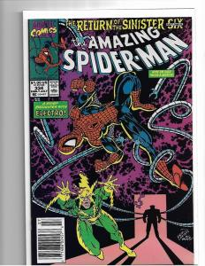 AMAZING SPIDER-MAN #334 - NM - RETURN OF SINISTER SIX - COPPER AGE KEY - UPC VAR