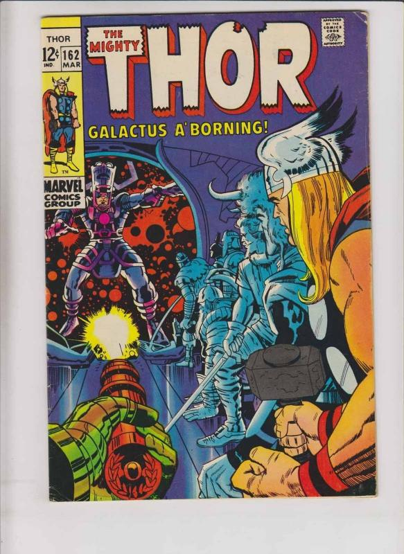 Thor #162 FN+ stan lee - jack kirby - galactus - silver age marvel comics 1969