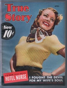 True Story 4/1942Janet Blair cover-Dinah Shore-exploitation-pulp thrills-VF