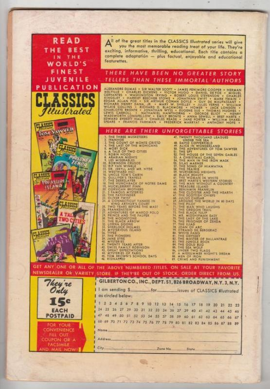 Classics Illustrated #88 (Oct-51) GD/VG Affordable-Grade