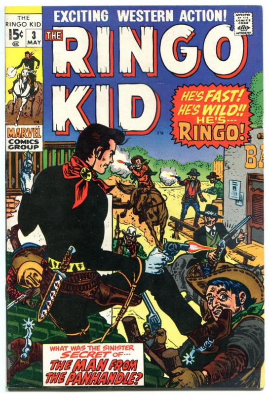 RINGO KID #3, VF+, Gunfights, 1970, Man from Panhandle, more Western in store