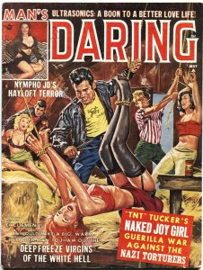 Man's Daring May 1963-Stockings bondage-TERROR-Cheesecake- pulp art crime