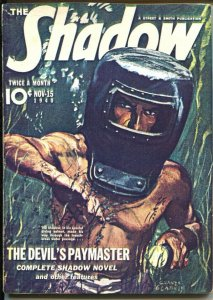 The Shadow 11/15/1940-The Devil's Paymaster-pulp thrills-color copy cover-G-