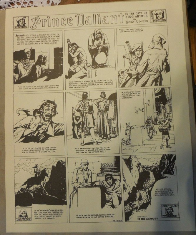 Prince Valiant by Hal Foster Syndicate Proof 12/10/1939  Size 16 x 20 inches
