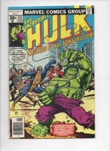 HULK #212, FN, Incredible, Bruce Banner, Constrictor, 1968 1977, Marvel