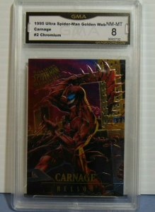 1995 Fleer Ultra Spider-Man Masterpieces Chromium #2 Carnage Nelson Art NM-MT 7