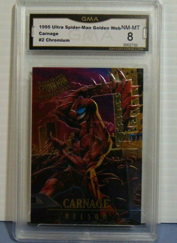 1995 Fleer Ultra Spider-Man Masterpieces Chromium #2 Carnage Nelson Art NM-MT 7