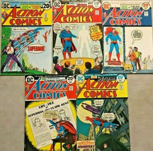 ACTION COMICS#426-430 FN-FN+ LOT 1973 SUPERMAN DC BRONZE AGE COMICS