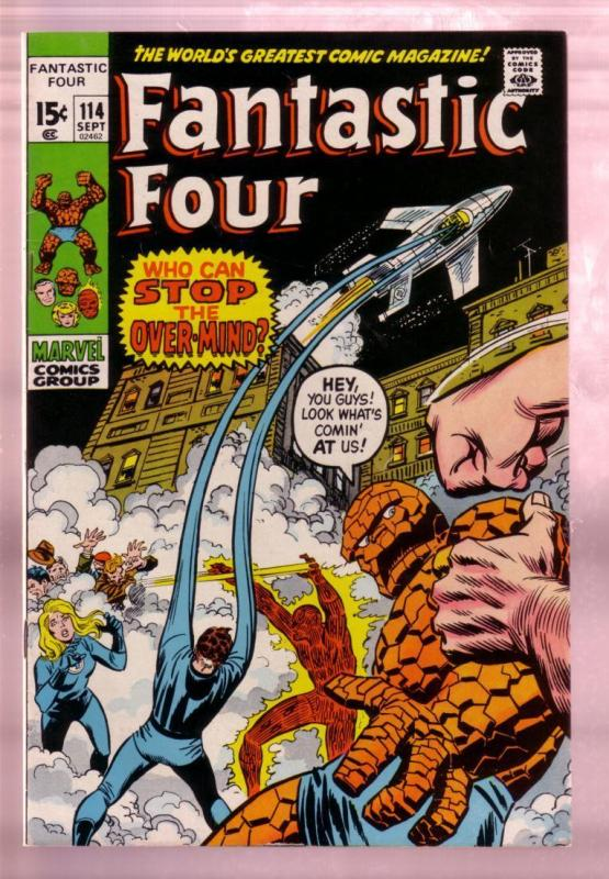 FANTASTIC FOUR #114 1971- THE TORCH-THING-BLACK COVER FN