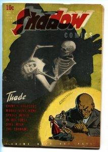 SHADOW COMICS V.3 #11-1944-Weird menace SKELETON cover!