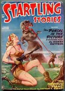 Startling Stories Pulp September 1949- Great GGA Dinosaur cover- Hubbard