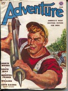 Adventure 3/1947-Popular-Malvin Singer lumberjack cover-pulp fiction-Gault-VG