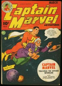 CAPTAIN MARVEL ADVENTURES #44-SCI-FI COVER-FAWCETT COMICS-very good VG
