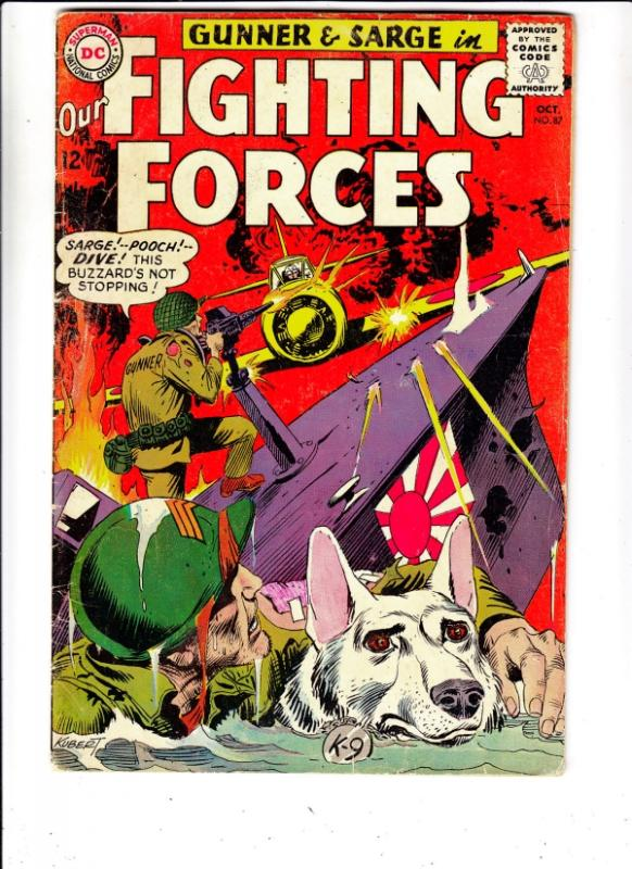 Our Fighting Forces #87 (Oct-64) FN Mid-Grade Gunner and Sarge, Pooch