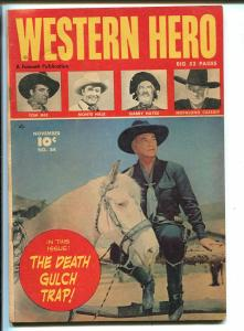 WESTERN HERO #84-1949-FAWCETT-HOPALONG CASSIDY PHOTO FRONT COVER-TOM MIX-fn/vf