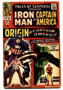 TALES OF SUSPENSE #63 comic book 1965-CAPTAIN AMERICA-MARVEL-ORIGIN ISSUE.