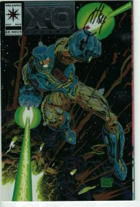 X-O Manowar #0 VF/NM; signed by Joe Quesada - chromium cover - Valiant Comics