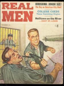 REAL MEN-PULP-NOV 1956-CANNIBALISM-VANISHING CO-EDS VG
