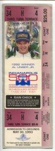 Indianapolis 500-Unused Ticket-Al Unser Jr-5/30/1993-complete Third Turn Terrace