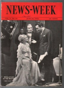 Newsweek 6/22/1935-Revolution In The Movies-Hudson auto art-VG