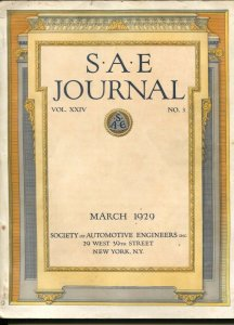 S.A.E. Journal 3/19290Society of Automotive Engineers-loaded with early car i...