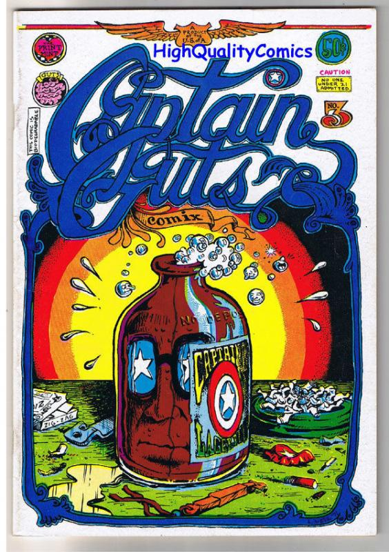 CAPTAIN GUTS #3, FN+, Underground, Dope, Bigotry, 1st, 1971, more UG in store
