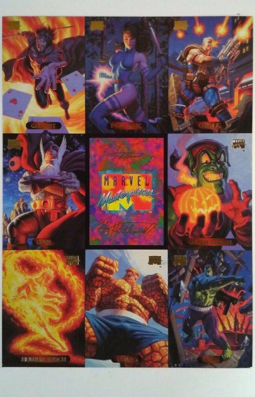1994 Marvel Masterpieces 9 Card UNCUT PROMO Sheet Gambit Thing Hulk Psylocke