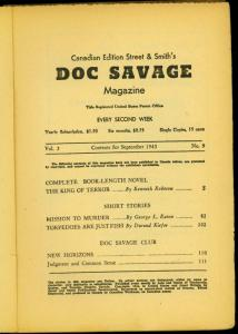Doc Savage Pulp 9/1943- Canadian ed- King of Terror- Reading copy