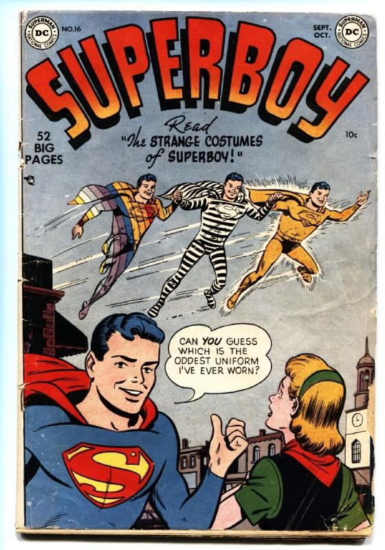 Superboy #16 comic book 1951-DC Comics-strange costume issue golden age