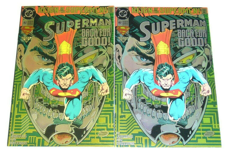 Superman 82 Rare Gold Transparent Error Variant Reign Of The Supermen Dc Hipcomic