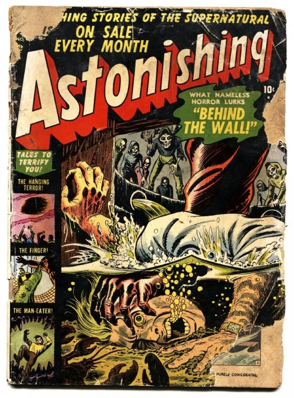 ASTONISHING #8 1952 drowning cover--atlas pre code horror