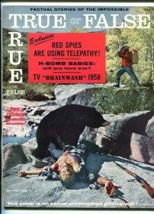 TRUE OR FALSE #1-APR 1958-BIZARRE-EXPLOITATION-SOUTHERN STATES PEDIGREE-vf/nm