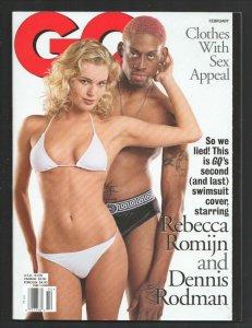 GQ 2/1997-Rebecca Romijn & Dennis Rodman  cover-Garry Shandling-History of Fl...
