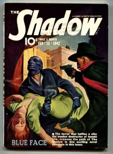 SHADOW 1942 FEB 15-high grade- STREET AND SMITH-RARE PULP vf
