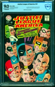 Justice League Of America #61 CBCS VF/NM 9.0 Off White to White DC Comics