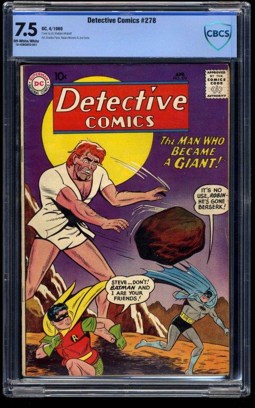 Detective Comics #278 CBCS VF- 7.5 Off White to White