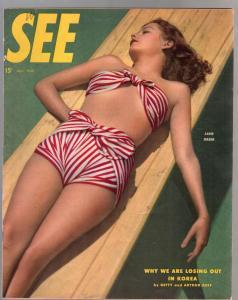 See 5/1948-Jane Greer photo cover-stockings-pin-ups-cheesecake-Korea-VF-